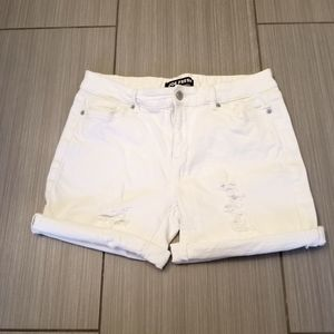 White denim distressed shorts